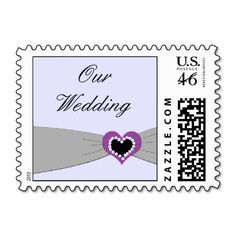 Grey and Purple Ribbon Wedding Stamps