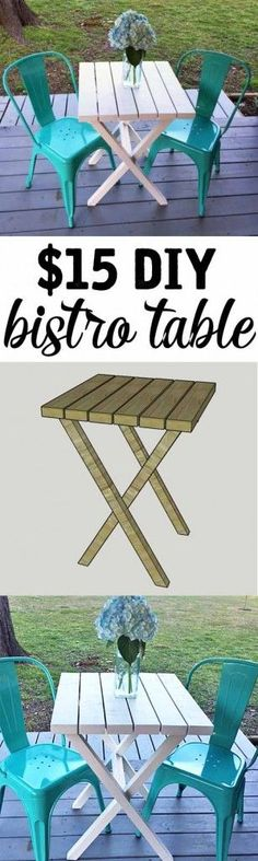15 DIY Bistro Table made from Such an easy project for a beginner only takes about an hour Small Patio Furniture, Diy Furniture Plans, Furniture Projects, Wicker Furniture, Pallet Furniture, Furniture Design, Bar Furniture, Garden Furniture, Apartment Furniture