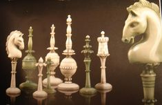 Ivory Chess Set with Horse Head Knights