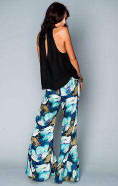 Mumu - Roberts Party Pants - Blue Tulips | Show Me Your MuMu
