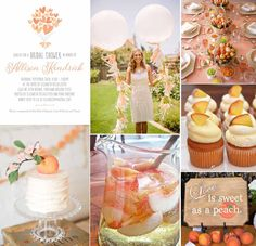 """""""Love is sweet as a peach"""". Evermine's new """"Heart Bouquet"""" style Bridal Shower Invitations in peach inspired us to create this fun and fresh peach-themed Bridal Shower mood board!  SHOP our Heart Bouquet Invites >> https://www.evermine.com/party_invitations/preview/NIHQ40-36/"""