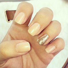 My new nails! Nude nails with gold accent. Classic nails. Classy nails. Natural nails. Natural look. Nails by Missy Appling
