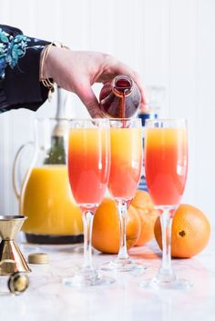 Tequila sunrise mimosa recipe mimosa recipes brunch recipes easter recipes entertaining tips party ideas and more from cydconverse 12 easter dinner recipes ideas of traditional sides and meat menus Tequila Sunrise, Brunch Drinks, Fun Drinks, Yummy Drinks, Mimosa Brunch, Mimosa Party, Brunch Menu, Beverages, Breakfast Alcoholic Drinks
