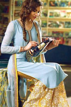 Vivacious Sky Blue Chiffon Pakistani Style Straight Cut Designer Suit