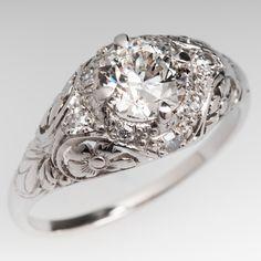 1930's Antique 1 Carat Old European Cut Diamond Filigree Ring