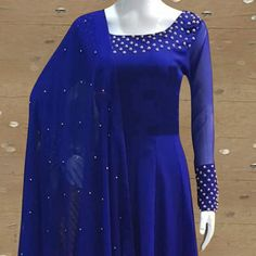 Buy Exotic Royal Blue Colored Partywear Pearl Work Stitched Georgette Churidar Suit for women's wear online India, best prices, affordable prices, best price online, Reviews - Peachmode Royal Blue Long Dress, Royal Blue Saree, Royal Blue Blouse, Royal Blue Dresses, Bridal Blouse Designs, Saree Blouse Designs, Lehenga Designs, Anarkali Dress Pattern, Indian Gowns Dresses