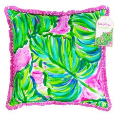 Lilly Pulitzer Painted Palm Pillow Adorn your space with perfectly printed and detailed pillows suitable for any Lilly lover! These indoor/outdoor square pillows are perfect for a beach house or poolside patio. Large Pillows, Throw Pillows, Patio Pillows, Cushions, Palm Beach Decor, Lilly Pulitzer Prints, Lily Pulitzer Painting, Lilly Pulitzer Signature Store, Coastal Colors