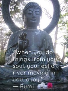 """When you do things from your sould, you feel a river moving in you, a joy."" ~Rumi #Quotes"