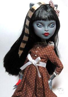 Mattel Monster High Werecat Twin Sisters - raven - OOAK doll Repaint by circlerose