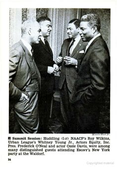 Image from Jet Magazine, Dec. 16, 1965. Frederick O'Neal is third from the left.  In 1975, he was elected to the Black Filmmakers Hall of Fame.