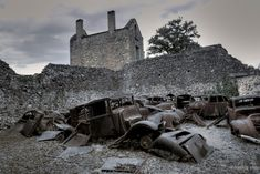 Oradour-sur-Glane was a village destroyed by a German military unit in 1944, killing 642 of its inhabitants. Although a new village was built nearby to replace it, today the original village stands as a memorial.