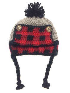 Baby Hat - Crochet Plaid Trapper Hat - Crochet Baby Hat - Baby Trapper Hat  - Baby Gift 4a14c838aa51