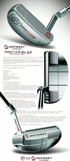 "The Latest Tour Series PROTYPE #7 Putter by Odyssey Golf · This Mallet type milled face putter with a crank-neck hosel and full-shaft offset is designed, tested and proven on Tour · Available in 33"", 34"", 35"" long in Right Hand. For the best price at the European Online Golf Store - GolfMetals.com"