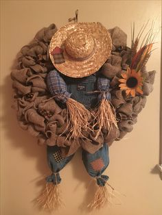My burlap scarecrow wreath