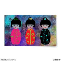 Dolls Rectangular Sticker #Doll #Asian #Asia #Japan #Japanese #Sticker