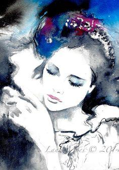Love Romance Original Watercolor Illustration - Watercolor Painting Titled: Kiss Me @ www.lanasart.etsy.com