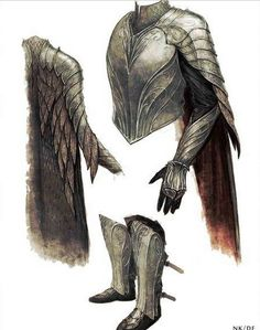 "Concept art for Thranduil's pauldrons and gauntlets from ""The Hobbit: Battle of the Five Armies"" As is typical of the elven aesthetic established for the trilogy, the armor reflects sinuous leaf-like lines. Looks kinda like some knights of Gwynn armor Fantasy Armor, Fantasy Weapons, Medieval Fantasy, High Fantasy, Fantasy World, Armadura Medieval, Armor Concept, Concept Art, Tolkien"