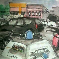 #persiapanmudikAgar Aman dan Nyaman servis duluKalau service mesin saya usahakan di bengkel resmi. Tapi kalau service mekanik seperti rem, kopling dsb saya lebih memilih montir pinggir jalan yg nongkrong di depan toko sparepart. Onderdil yakin Ori tapi bisa ngirit setengahnya, bahkan lebih.Agar nunggu tidak kesal, nyeket saja, waktu berlalu serasa sekejap#art #drawing #sketch #sketchwalker #mudik #ramadhan City Sketch, Sketches, Car, Instagram, Automobile, Draw, Doodles, Sketch, Sketchbook Drawings