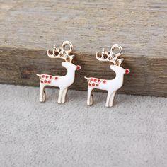 50pcs/lot 23x17x2mm Enamel Deer Charm Lots Christmas Deer Charms Pendant For Jewelry