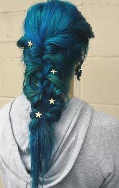 Blue teal mermaid braid.