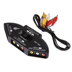 Hoge Kwaliteit Zwart Selector 3 Poorten Video Game Switch 3 1 composiet av signal switch w/rca av-kabel voor nintendo wii tv DVD