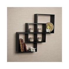 Wood Wall Shelves Ledge Modern / Intersecting Decorative Home Furniture Black #Modern