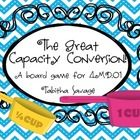 The Great Capacity Conversion Board game ( CCSS 4.MD.A.1) is a fun and EXCITING way to practice conversions using cups, pints, quarts, and gallons....