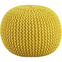 CB2 Knitted Yellow Pouf