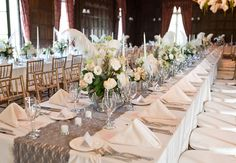 Long, Glamorous Great Gatsby Wedding Reception Tables //  Featured: The Knot // Photography: Tara Welch Photography