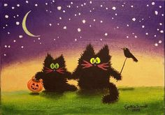 Art 'A Scaredy Cat Halloween' - by Cynthia Schmidt from Black Cat Painting, Black Cat Art, Black Cats, Halloween Painting, Halloween Cat, Happy Halloween, Fall Cats, Pumpkin Images, Cat Sketch