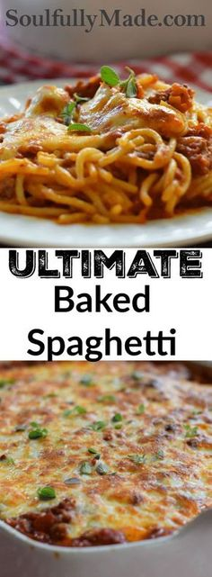 Ultimate Baked Spaghetti is the perfect combination of creamy with a hearty meat sauce topped off with bubbly melted cheese.