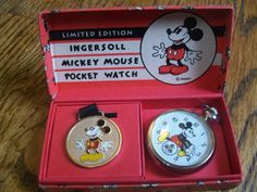 Ingersoll MICKEY MOUSE POCKET WATCH Limited Edition 1167/5000 w/ FOB in Box EC!!