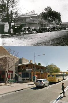 The Red Cow Inn, Station Street, Penrith in circa 1910 and 2013. The red Cow was built by Thomas Smith in the early 1880's. It replaced an earlier Red Cow Inn that Smith built nearby in 1865. [circa 1910 - Penrith City Council>2013 - Google Street View. By Phil Harvey] Old Pictures, Old Photos, Thomas Smith, Australian Road Trip, Phil Harvey, Penrith, Teaching History, City Council, Local History