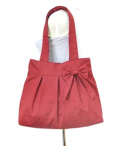 Red canvas travel bag / tote bag / shoulder bag by Markfabric, $28.00