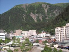 Aug. 1: Juneau, Alaska! Fits itself into a small area between ocean and steep mountains!