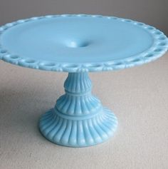 Imperial Blue Milk Glass Cake Plate