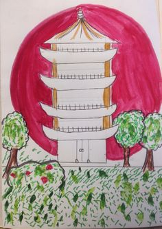 Phreya, combining a biro drawing of a building with the National flag for The Multicultural Project. At Marys Catholic High School