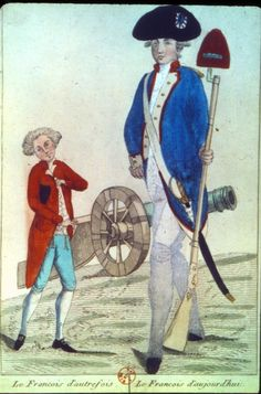 """""""The French of Yesterday and Today."""" This engraving contrasts the military capability of France before and after the Revolution. The figure on the left represents the nobility, small and hesitant; right is the soldier of the Revolution, a citizen in arms, with a uniform, a saber and rifle with bayonet and revolutionary cap in hand, and a canon in the background. The citizen soldier was motivated by patriotism and devoted to defending liberty and the Revolution."""