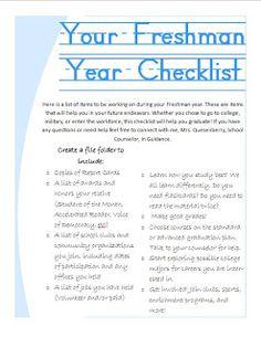 Checklist for 9th grade freshmen to encourage graduation high school school counselor