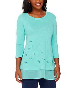 Loving this Clear Water Embellished Layered Top on #zulily! #zulilyfinds