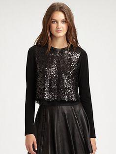 Rag & Bone Sequin Zip Crop Top and Leather Raw-Edge Renard Skirt