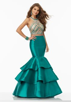 Shop Morilee's Two-Piece Prom Dress with Larissa Satin Skirt with Beaded Net Top. Prom Dresses by Morilee designed by Madeline Gardner. Two-Piece Prom Dress with Tiered Larissa Satin Mermaid Skirt. High Scoop Neckline and T-Back. Mori Lee Prom Dresses, Classy Prom Dresses, Prom Dresses For Teens, Prom Dresses 2017, Designer Prom Dresses, Mermaid Prom Dresses, Pageant Dresses, Bridal Dresses, Nice Dresses