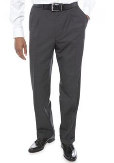 Lauren Ralph Lauren Tailored Clothing Charcoal Classic Fit Total Comfort Pleated Dress Pants