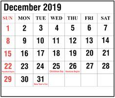 Pin By All Yracky On December 2019 Calendar Free Printable
