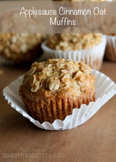 Applesauce Cinnamon Oat Muffins- perfect breakfast muffins for the kiddos!