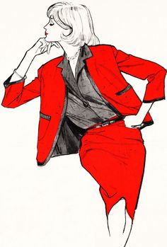 Joseph Magnin Red Suit in Romano Silk, 1959