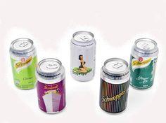 O Schweppes, o 1º refrigerante do mundo, fez 230 anos em 2013. A edição comemorativa das latas trouxe sete ilustrações vintage, uma para cada sabor, e inspiradas em cartazes de campanhas antigas da marca.