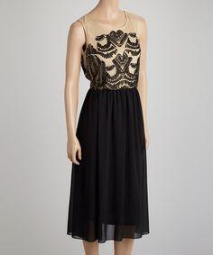 Look what I found on #zulily! Natural & Black Appliqué Sleeveless Dress - Women #zulilyfinds