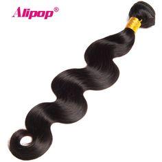 "[ALIPOP] Peruvian Body Wave Hair Bundles Natural Black Color 1PC 10""-28"" Human Hair Bundles Non-Remy Hair Weave Can Be Dyed"
