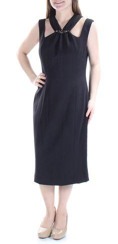 72dae4f8054e Anne Klein 139 Womens New 7184 Black Beaded V Neck Sleeveless Dress 8 B B *  Check